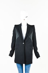 Givenchy Givenchy Black Wool Satin Trim Long Collared Blazer Jacket