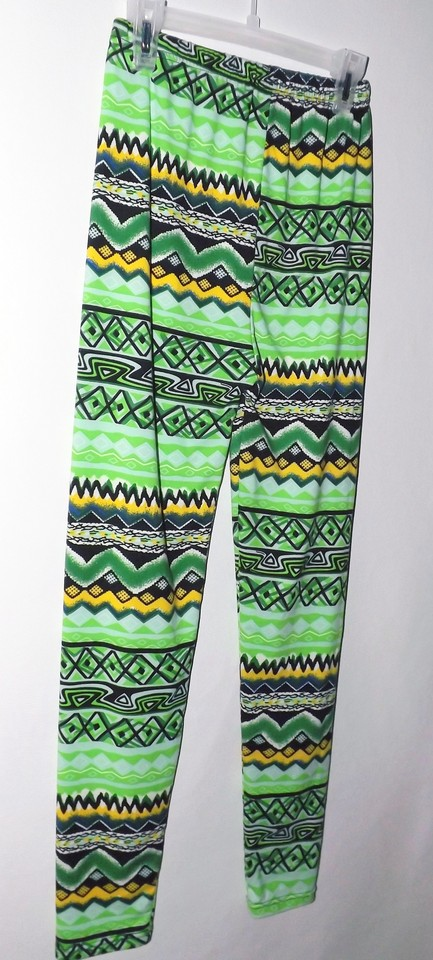 Green New Lu Soft Polyester Bright Multi Colored Print Large Leggings