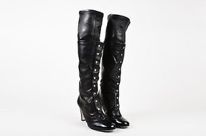 Chanel Lambskin Leather Patent Heel Knee High Silver Tone Snap Black Boots