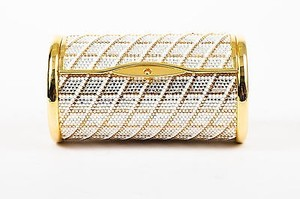 Judith Leiber Tone White Silver Tone Crystal Embellished Cylinder Gold Clutch