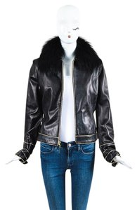 St. John Women Women Coats BLACK Leather Jacket