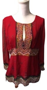 ECI New York Silk Top Red,Black multi