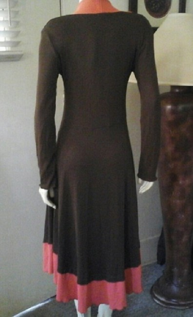 Carilyn Vaile Color Block Asymmetrical Uneven Hem Long Sleeves V Neck Pullover Size Small Dress