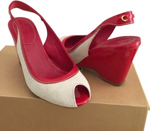 Red With Off-white Or Cream/natural Colored Trim Wedges