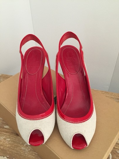 Other Red With Off-white Or Cream/natural Colored Trim Wedges