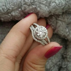 Sz 6 Nano Stimulated Diamond 1ct Ring Vvs1 Certified Pt950 Stamped Halo Nscd Sona Engagement Bridal Wedding New Travel