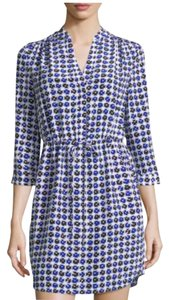 Diane von Furstenberg Work Navy Checkered Dress