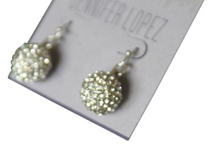 Jennifer Lopez RHINESToNE SILVER TONE PIERCED BALL EARRINGS