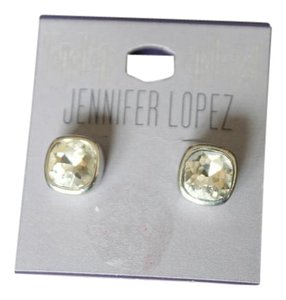 Jennifer Lopez RHINESToNE SILVER TONE SQUARE STUDDED PIERCED EARRINGS