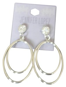Jennifer Lopez RHINESToNE SILVER TONE DOUBLE OVAL HOOP PIERCED EARRINGS