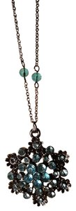 Other Fashion Black Plated Necklace with Blue Rhinestones and beads