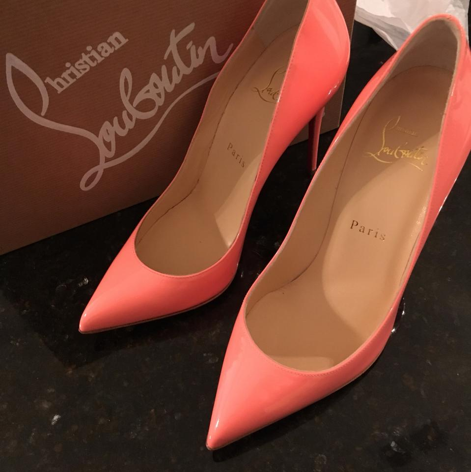 725c6cbfd84 Christian Louboutin Flamingo Peach Pigalle Follies 100 Patent Leather Coral  Pumps Size US 6.5 Narrow (Aa, N) 34% off retail