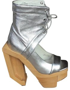 Jeffrey Campbell Leather Madmax Silver Platforms