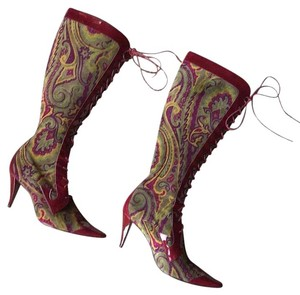 Etro Leather Designer Patent Leather Paisley Multi Boots