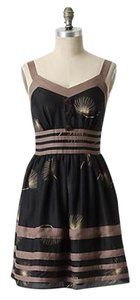Anthropologie short dress Black Above Knee Mini Sleeveless Striped on Tradesy
