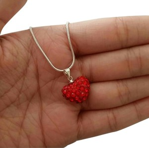 red heart crystal shamballa heart cz stone necklace pendant mother daughter 18