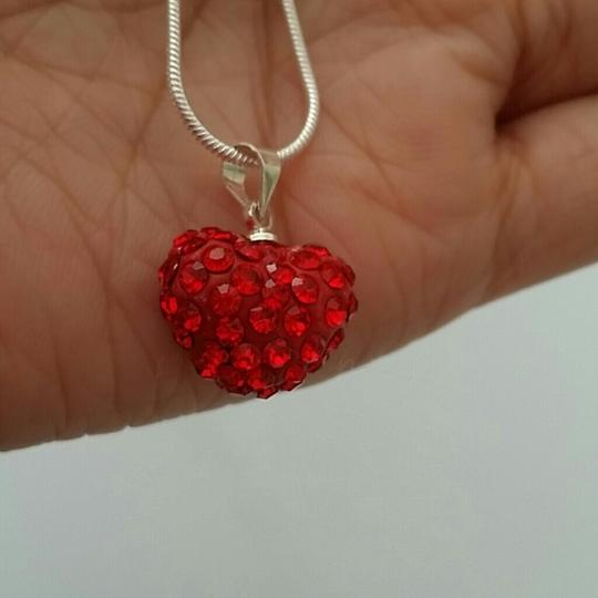 Other red heart crystal shamballa heart cz stone necklace pendant mother daughter 18