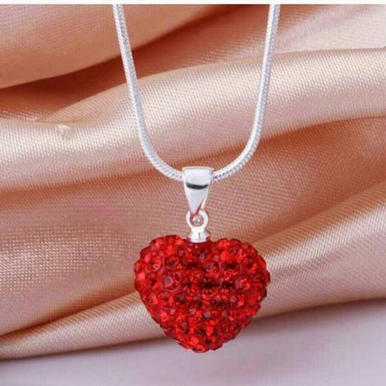 "Other red heart crystal shamballa heart cz stone necklace pendant mother daughter 18"" chain new gift mom 925 sterling silver"
