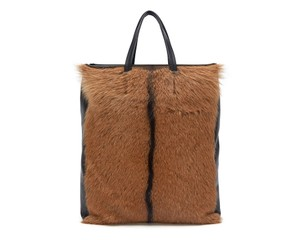 Céline Cabas Cabas Vertical Fur Fur Cabas Brown Black Tote