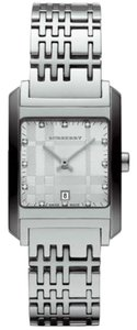 Burberry BURBERRY Womens Watch BU1583 Silver Tone Diamonds White Check Dial