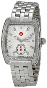 Michele MICHELE Women's 'Urban Petite' Silver Watch with Pave Diamonds