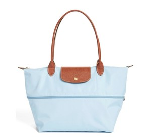 Longchamp Nylon Leather Travel Tote in blue