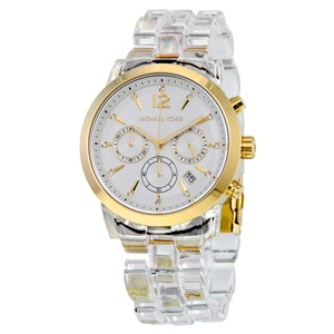 Michael Kors Michael Kors Audrina Clear Acetate Gold Chronograph Watch MK6200