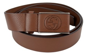 Gucci Gucci Men's 368188 Brown Leather Interlocking GG Buckle Belt 38 110