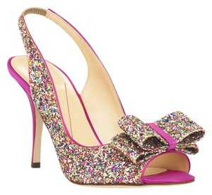 Kate Spade Glitter Stiletto Peep Toe Multi sparkle / Pink Pumps