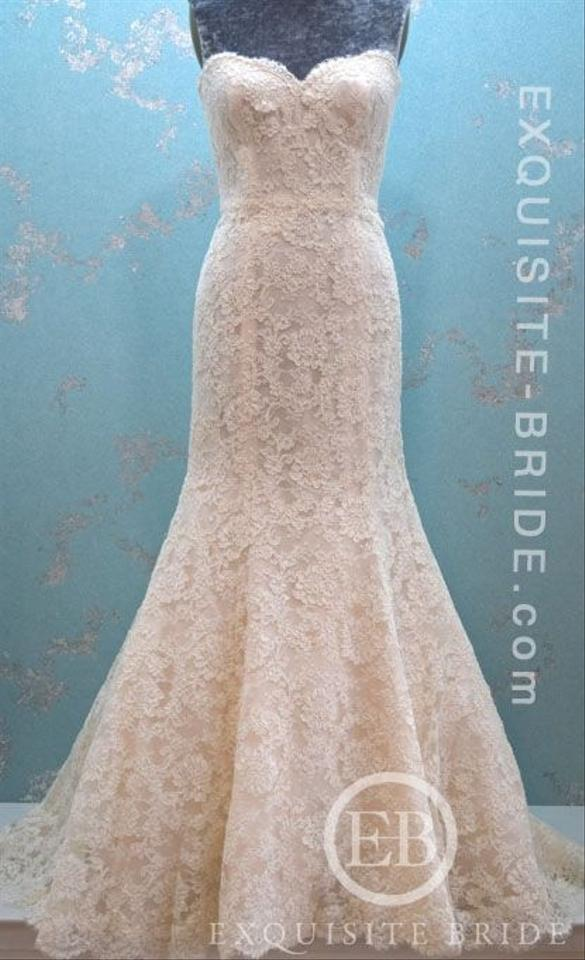 Bliss by Monique Lhuillier Ivory Lace / Blush Underlay with & Tulle ...
