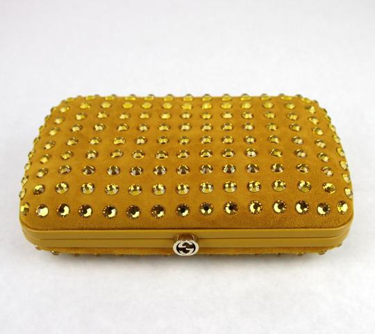 Gucci Broadway Suede Evening Yellow 7066 Clutch Image 2
