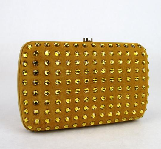 Gucci Broadway Suede Evening Yellow 7066 Clutch Image 3