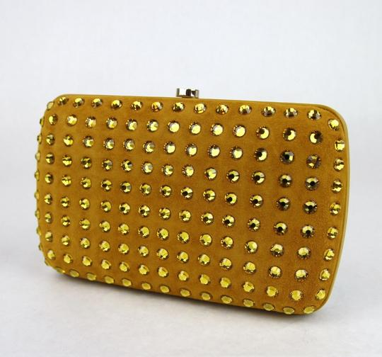 Gucci Broadway Suede Evening Yellow 7066 Clutch Image 4