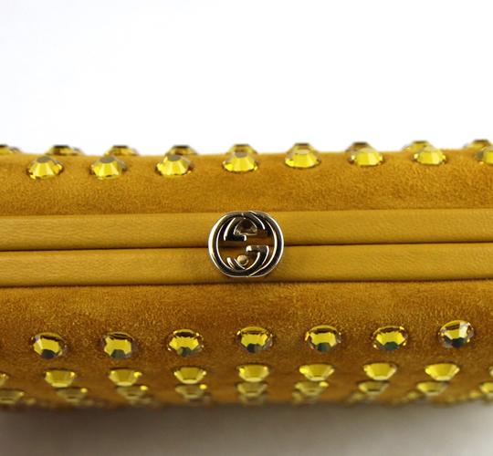 Gucci Broadway Suede Evening Yellow 7066 Clutch Image 5