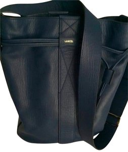 LANCEL France Grained Leather Tote in French Blue Navy