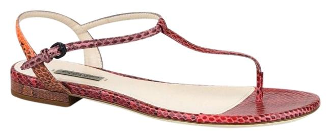 Item - Red/Orange New Python Flat Thong It 36.5/ 6.5 338258 8740 Sandals Size EU 36.5 (Approx. US 6.5) Regular (M, B)