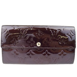 Louis Vuitton Sarah Long Bifold Wallet Purse Monogram Amarante Vernis M93524