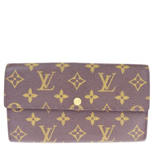 Louis Vuitton Sarah Credit Long Bifold Wallet Purse Monogram Brown M61725 clutch