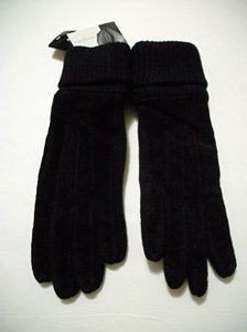 Jaclyn Smith Womens Ribbed Cuff Black Seude Leather Gloves Size Large/Extra Large