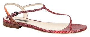 Bottega Veneta Python Flat Red/Orange Sandals