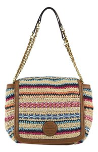 Tory Burch Woven Marion Tory Shoulder Bag