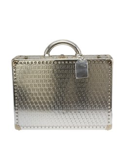 Fendi Chrome Briefcase Monogram Leather Sivler Travel Bag