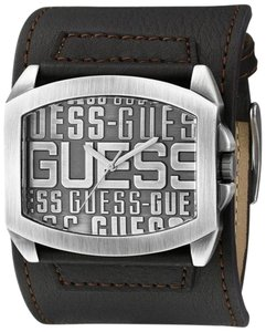 Guess Guess Men's Iconic Brown Leather Cuff Watch W0360G2