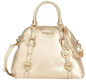Michael Kors Bedford Bedford Bowling Satchel Tote in pale gold