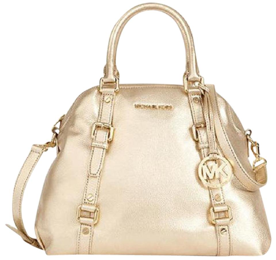 Michael Kors Bedford Bowling Satchel Tote In Pale Gold