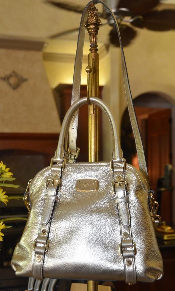 Michael Kors Bedford Bowling Satchel Tote In Pale Gold 12345678