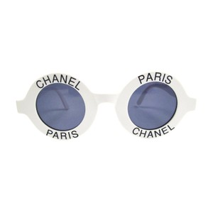 Chanel MOST WANTED SUNGLASSES ROUND PARIS LOGO VINTAGE WHITE BLACK CC