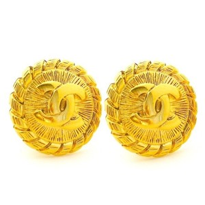 Chanel CHANEL Vintage Gold Tone Round Braided CC Logo Clip On Earrings