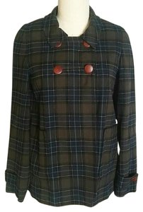 Lark & Wolff Plaid Vintage Double Breasted Blazer Olive Jacket