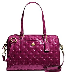 Coach Peyton Embossed Optic Art Satchel and Crossbody Satchel in Passion Berry